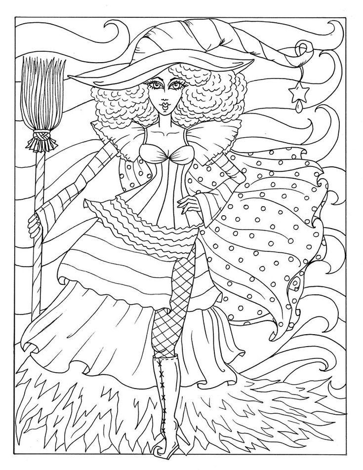 5 pagina's magische heksen Halloween magische kleurende