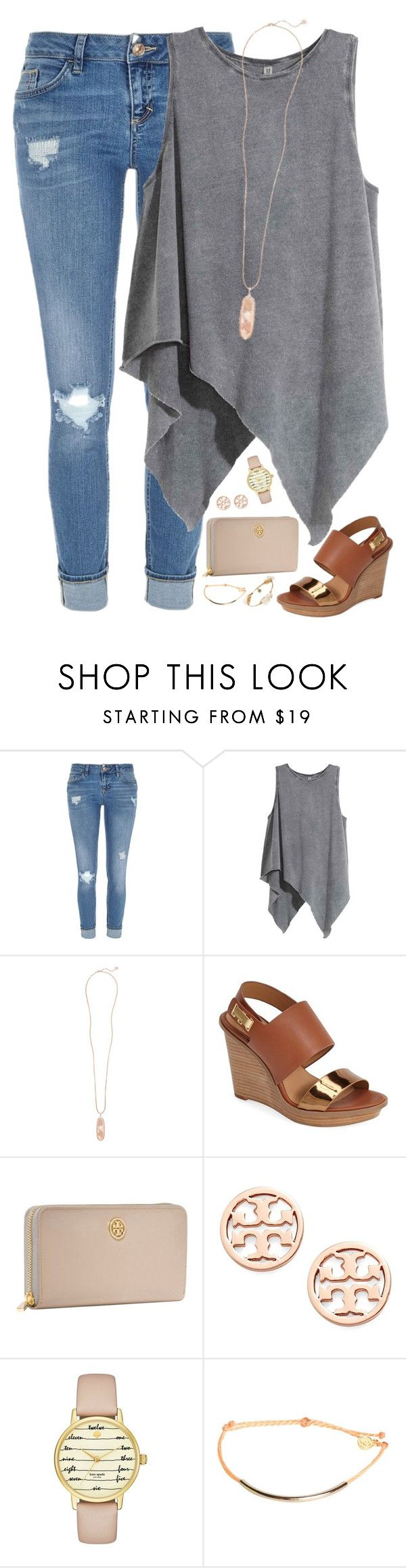 """""""I wonder if you ever talked about me to someone.."""" by kaley-ii ❤ liked on Polyvore featuring River Island, Kendra Scott, Calvin Klein, Tory Burch, Kate Spade, Pura Vida and Bourbon and Boweties"""