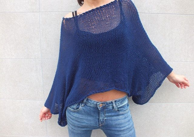 Off the shoulder sweater, Cotton sweater, Cropped sweater,Navy Blue sweater…