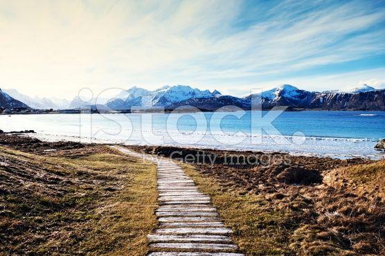 Wooden plank walkway leading to Bamberg Beach,Lofoten Islands,Norway royalty-free stock photo