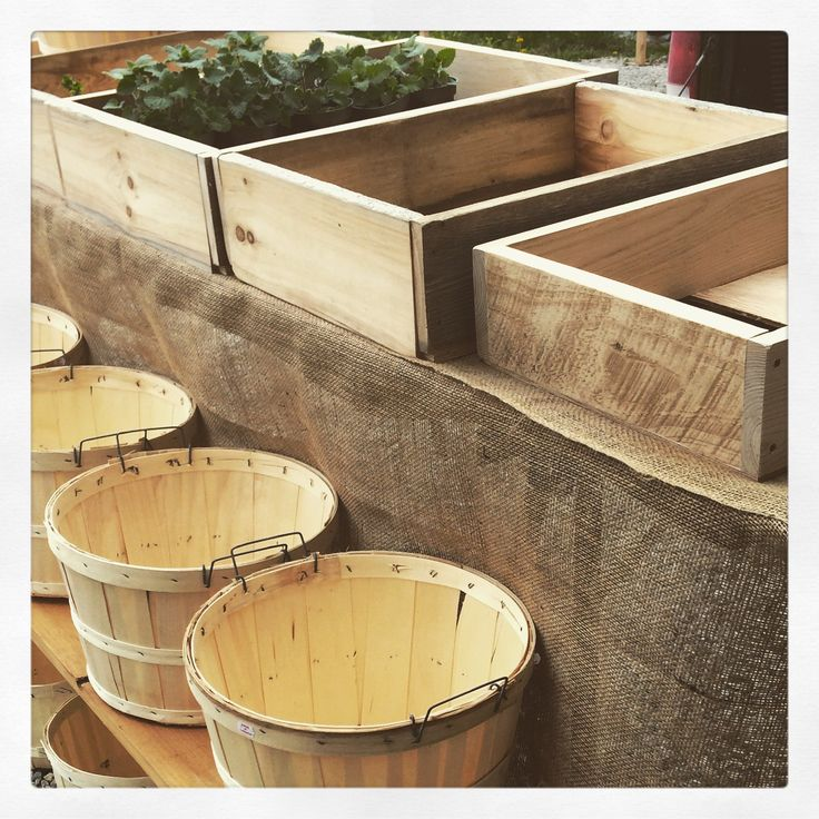 Wooden crates and bushel baskets for farmers market display                                                                                                                                                                                 More