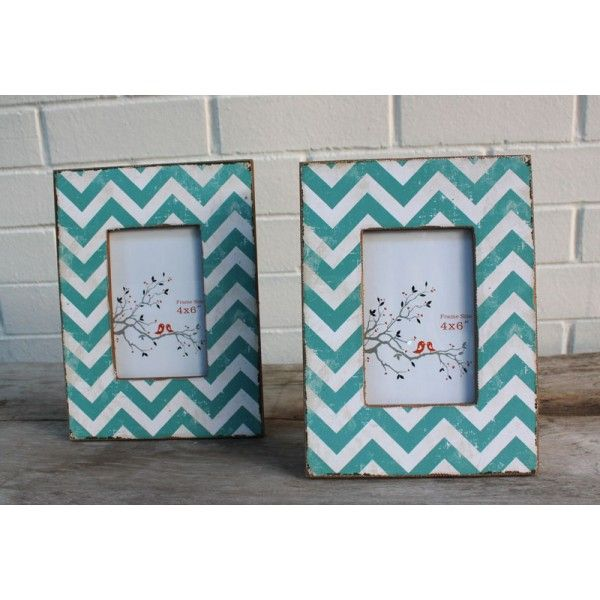 Chevron Photo Frame Blue - Homewares Online