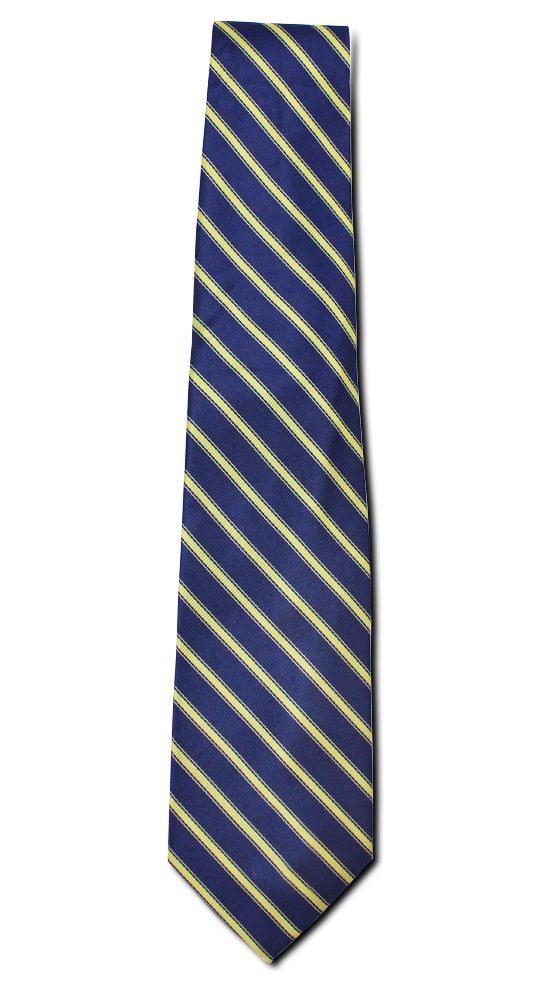 Rich gold stripes fill this navy tie for the perfect look when speaking at a business meeting or to give as a gift to a VIP.