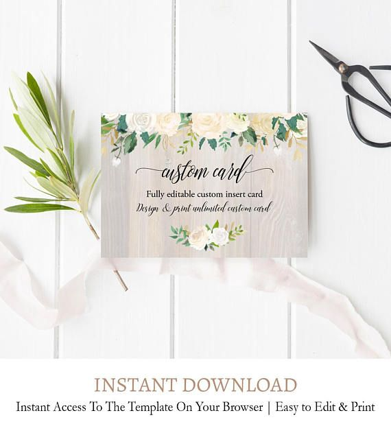 Rustic Wood Wedding Information Card Editable Wedding Etsy Custom Wedding Cards Diy Wedding Invitations Templates Printable Wedding Invitations