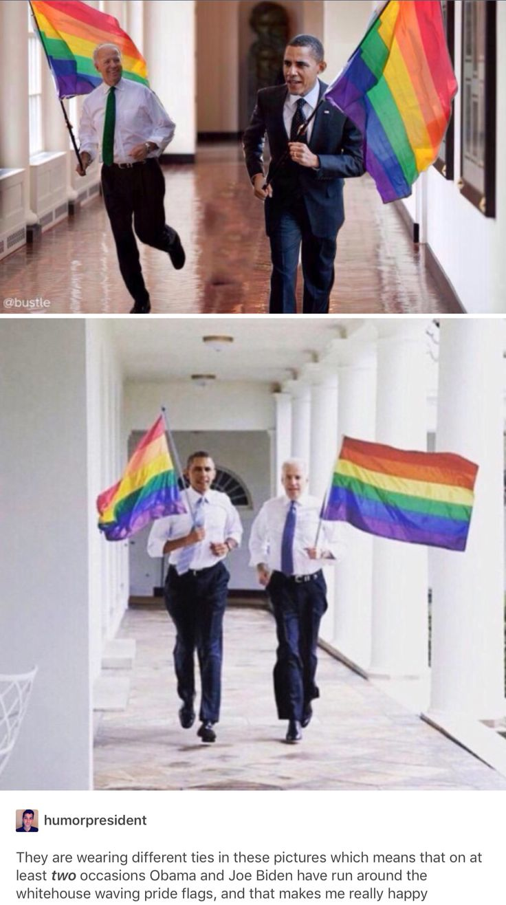 As much as I wish this were true, these are photoshopped. These photographs are from when Obama and joe have gone for jogs around the White House. If you look at the flags they're not really gripping them. Also if they were running the flags would most likely be flying beside/behind them. Still a great picture though, and props to the photoshop artist