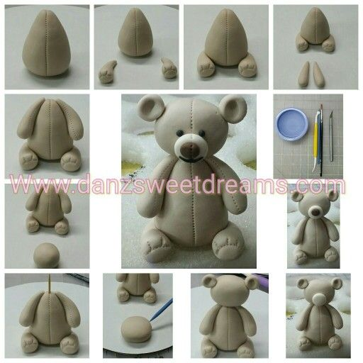 Fondant/gumpaste teddy bear cake topper tutorial