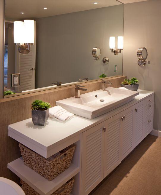 eclectic bathroom : vanity doors : open shelving : sink : wall color