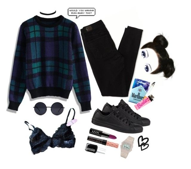"""Sweater Weather"" by grunge4lyfe ❤ liked on Polyvore featuring American Eagle Outfitters, Chicwish, Converse, River Island, Benefit, Retrò, Forum, Essie, women's clothing and women"