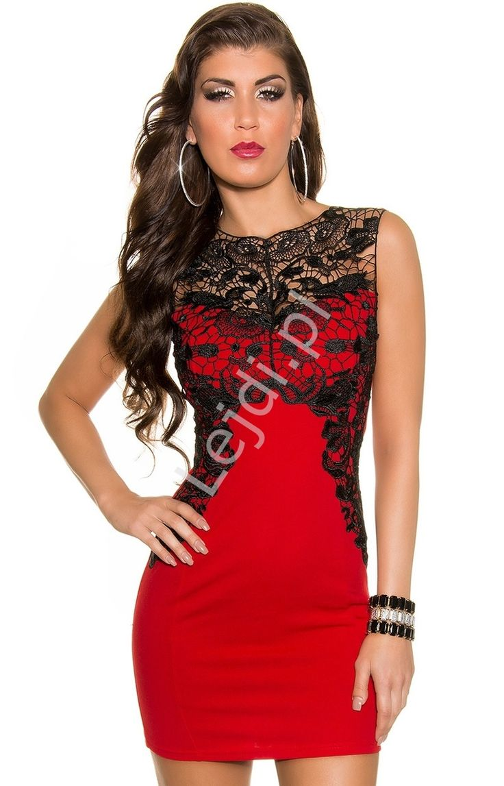 Czerwona żorżetowa mini sukienka z gipiurową czarną koronką. Efektowna sukienka o prostym, a zarazem eleganckim kroju ala princesska. Tkanina żorżetowa z elastanem, dzięki czemu sukienka pięknie sie naddaje i bardzo mocno uciąga. Czarna gipiurowa koronka nadaje jej wyjątkowego charakteru. #sukienka #sukienki #dress #dresses #style #moda #look #lace