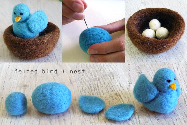This sweet birdie's finished size is about 3 inches high and 2 inches wide. The nest is approximately 4 inches in diameter. Ingredients: - bark brown roving - ampelopsis roving - banana roving - licorice roving - snow colored felt balls Tools: - foam mat to felt on - felting needle - a piece of foam to cut up