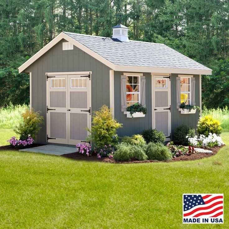 "EZ Fit 12' X 24' Riverside Wood Shed Kit With Floor Designed to offer plenty of light and easy access, the EZ-fit Riverside shed kit features a single door flanked by two 24"" x 36"" windows, in additio"