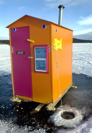 Pink & Orange - Ice Fishing Hut - I can't love this enough!