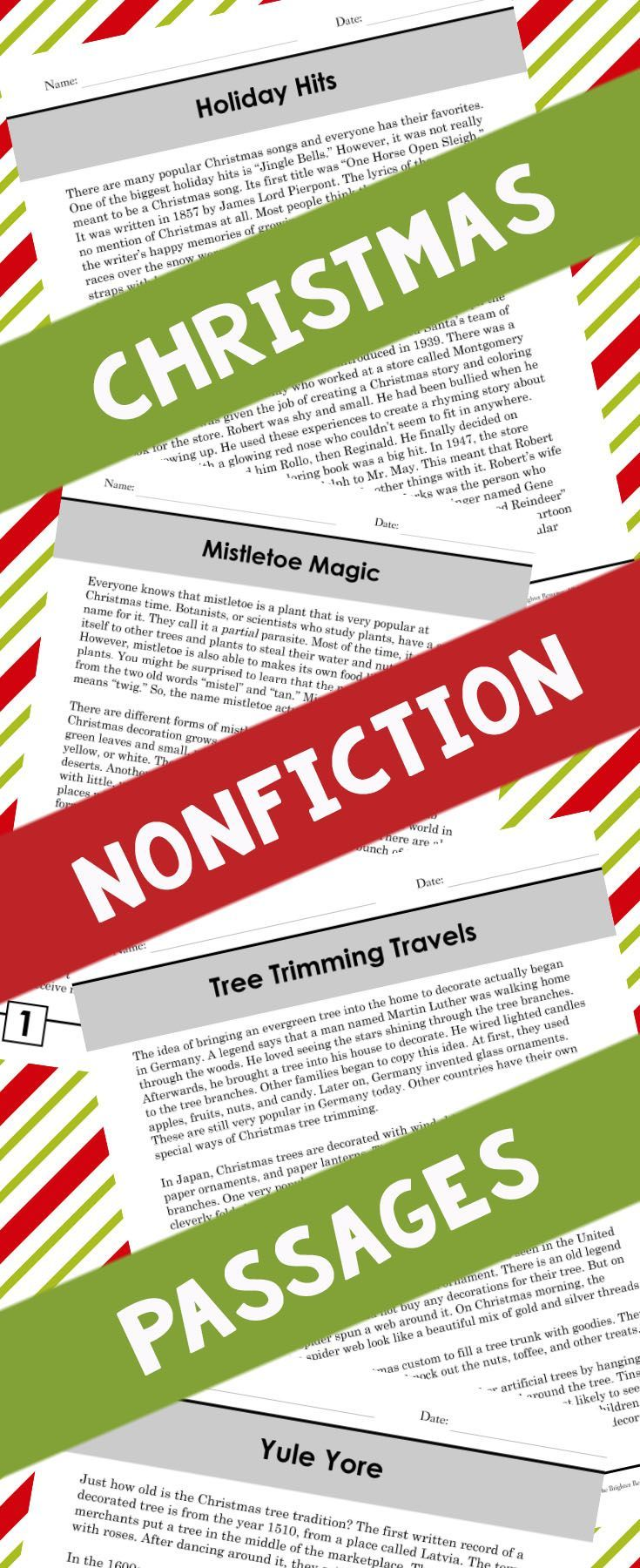 Nonfiction reading passages that feature one page of informational text and one page of multiple-choice comprehension questions with 3 answer choices! Topics include mistletoe, Christmas songs (Jingle Bells and Rudolph the Red-Nosed Reindeer), tree decorating around the world, and the history of the Christmas tree.