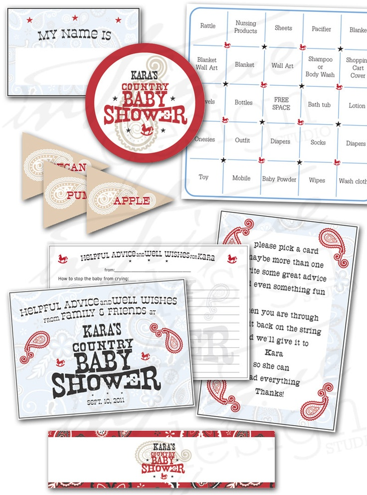 Country Baby Shower Printables - Print It Yourself - Complete Package