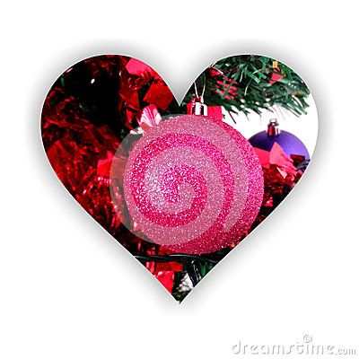 #Heart form with shadow, filled with #sparkling #globe and abstract #Christmas decorations, on white background