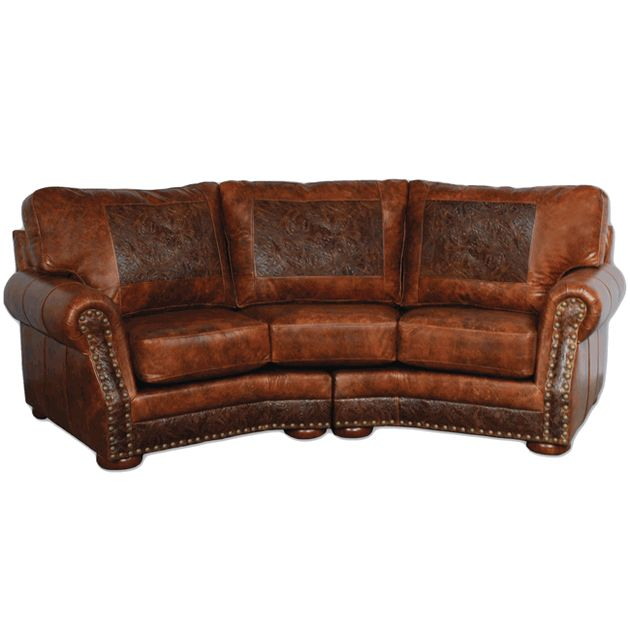 Cameron Ranch Antiquity Ember Curved Sofa Home Ideas Rustic Leather Furniture