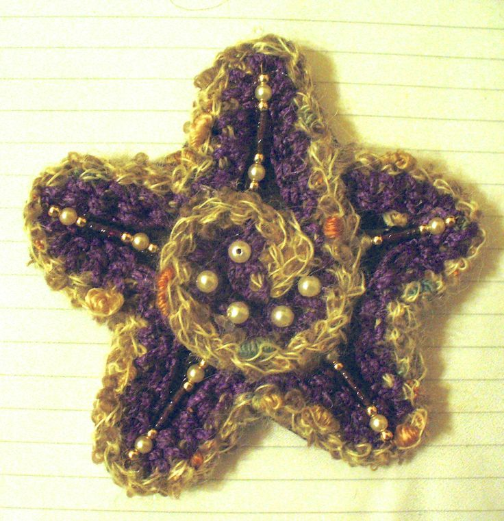 handmade brooch made of wool, felt and beads and pearls. This is a xmas gift for a lady named Pearl <3