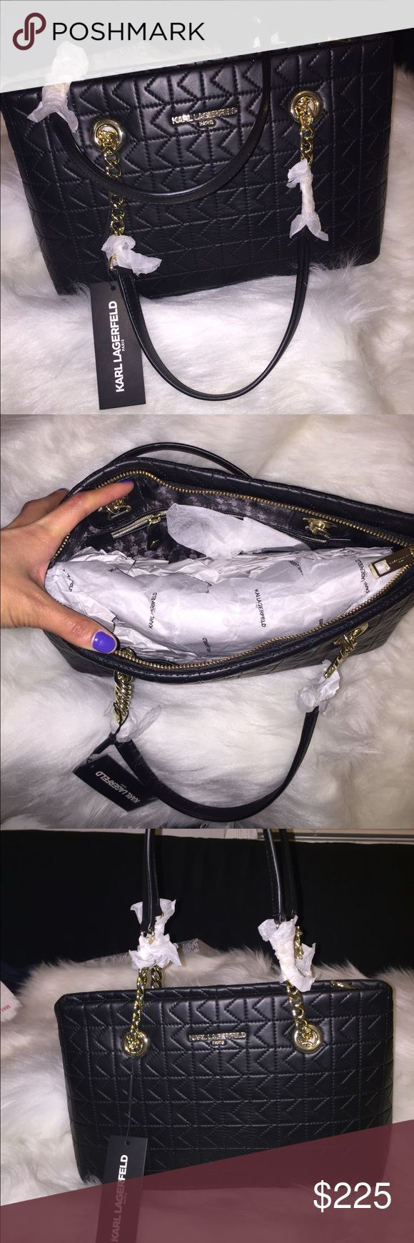"""NWT! Karl Lagerfeld"""" BlK Quilted Lamb Bag! NWT! Karl Lagerfeld"""" BlK Quilted Lamb Bag! Gorgeous Bag! No Trades! Brand New! Karl Lagerfeld Bags Shoulder Bags"""