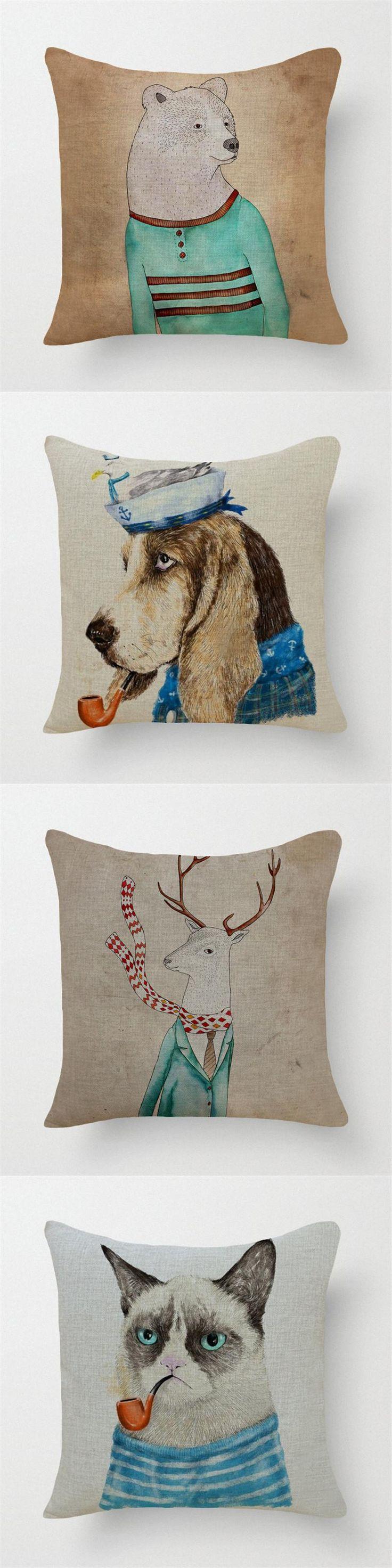 Cute Cartoon Animals Print home ornament pillow Case cushion cover 1pcs promotion 45*45cm scandinavian style