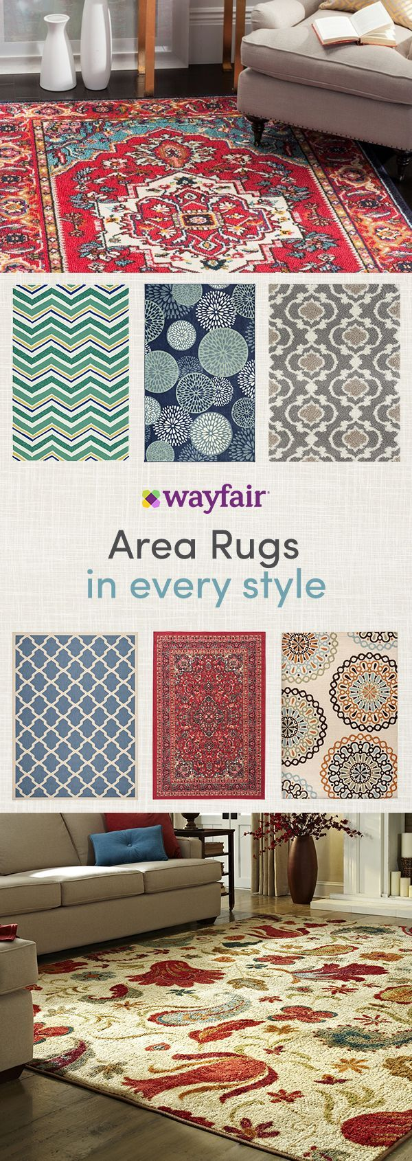 Area rugs can help define your space and solidify your overall theme. Create a focal point in a room with a bold and printed style, or find the perfect complement to your existing style with simply chic options. Get access to exclusive deals at up to 70% OFF and enjoy FREE SHIPPING on all orders over $49 at Wayfair! Sign up and shop now!