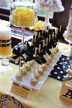 "Sweet Simplicity Bakery: Bumblebee Baby Shower ""Mommy To Bee"" Themed Dessert, Candy & Chocolate Display Buffet Table; Cake Pops on Paper Straws"