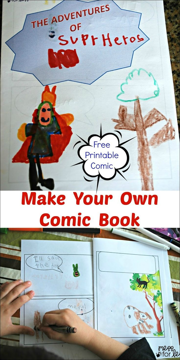 Make Your Own Comic Book with FREE printable comic book! My five year old daughter was adamant about spelling all the words herself. Though she didn't spell superheroes in the conventional way, I was proud of all the sounds she heard. #sponsored #CerealHeroes
