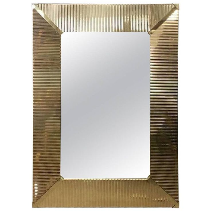 Large Brass Wall Mirror | From a unique collection of antique and modern wall mirrors at https://www.1stdibs.com/furniture/mirrors/wall-mirrors/