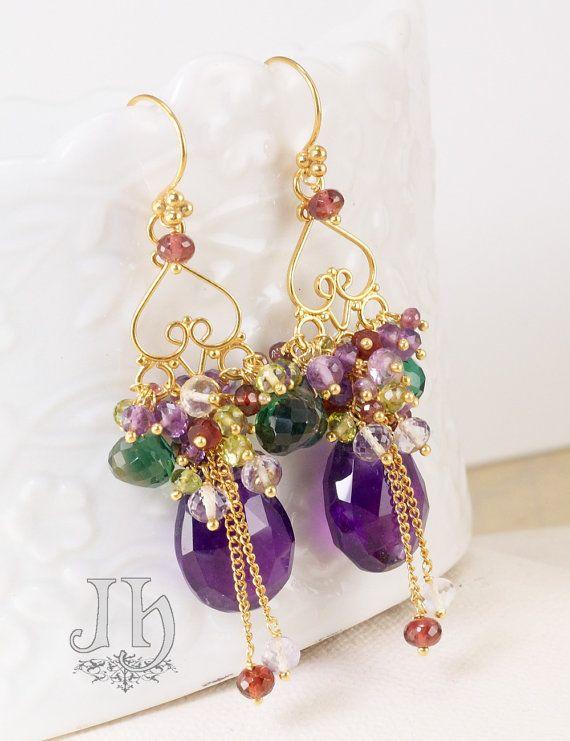 Akuti Earrings ... Amethyst Green Quartz Peridot