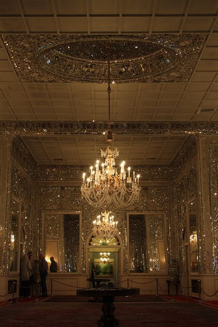 Mirror's Hall, Niavaran Palace, Tehran, Iran. It sparkles in a still photograph, can you imagine it in person?