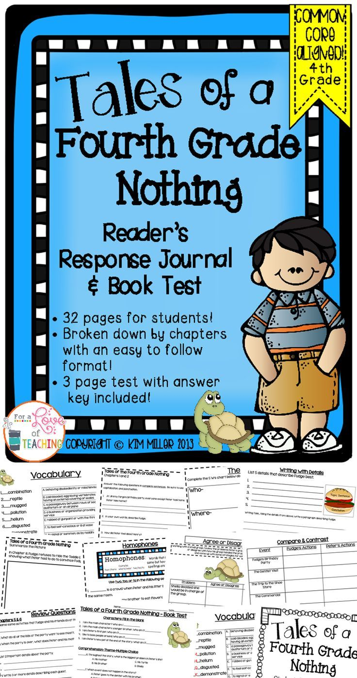 Tales of a 4th Grade Nothing Reader's Response Booklet with Test: This is a 32 page reader's response booklet for students to use while reading Tales of a 4th Grade Nothing. A 3 page book test is included (with answer key).