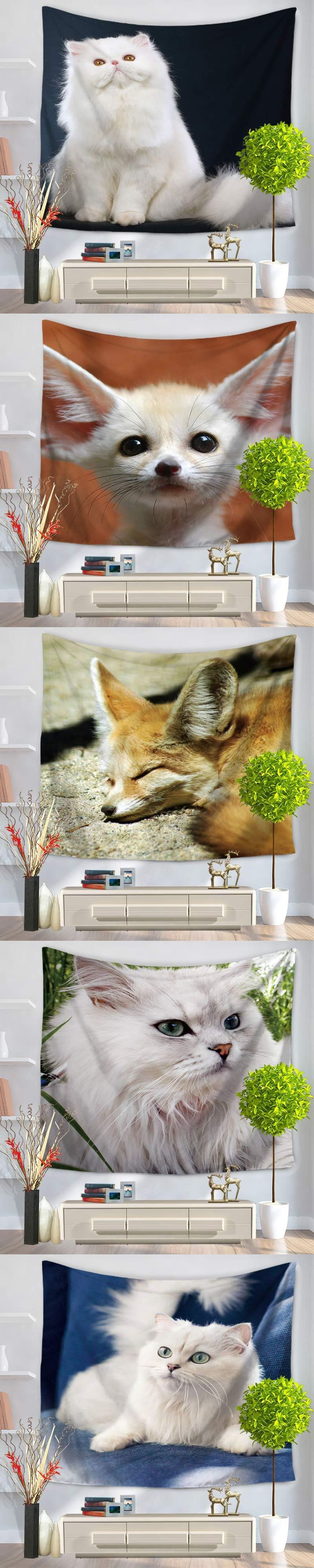 2017 wholesale wedding party gift Pet cute Clever big fox wall hanging tapestry 130X150cm beach carpet Yoga mat picnic mat
