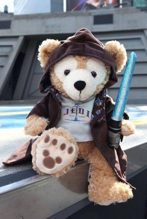 Duffy Bear as padawan Jedi. Cutest little outfit. The light saber even lights up!