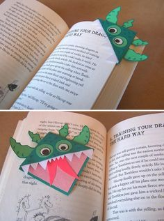 Dragon Corner Bookmark - I modeled this bookmark after the cute corner monster bookmarks that have been popping up on craft blogs.  He really likes Cressida Cowell's How to Train Your Dragon series!