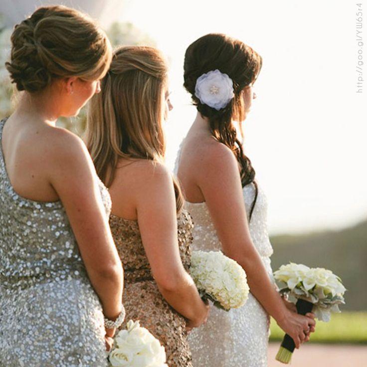 Damas de honor en tonos #metálicos #Bridesmaids #dress #Wedding #YUCATANLOVE