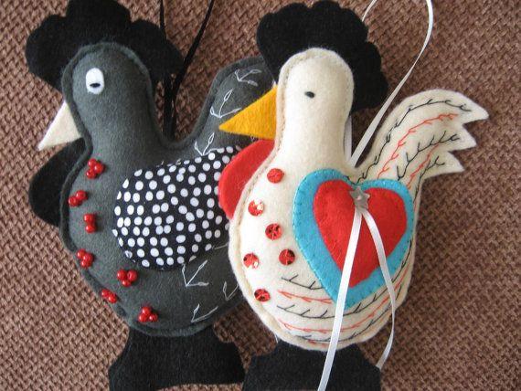 Chicken hanging ornament handmade felt hen by MadeByFidgetyDigits