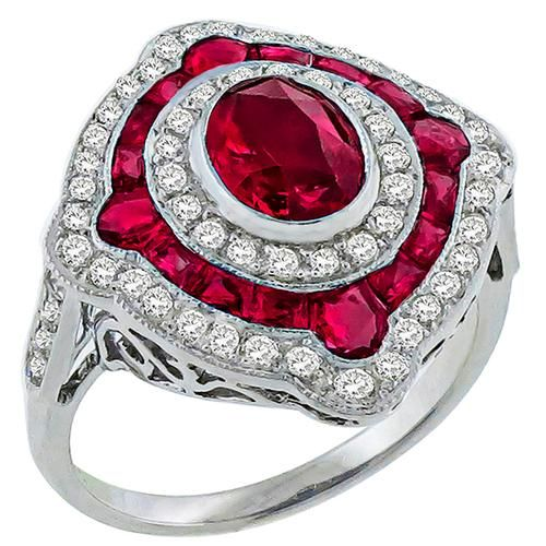 Art Deco Style 1.10ct Oval Cut 1.13ct Faceted Cut Ruby  0.63ct Round Cut Diamond 18k White Gold Ring