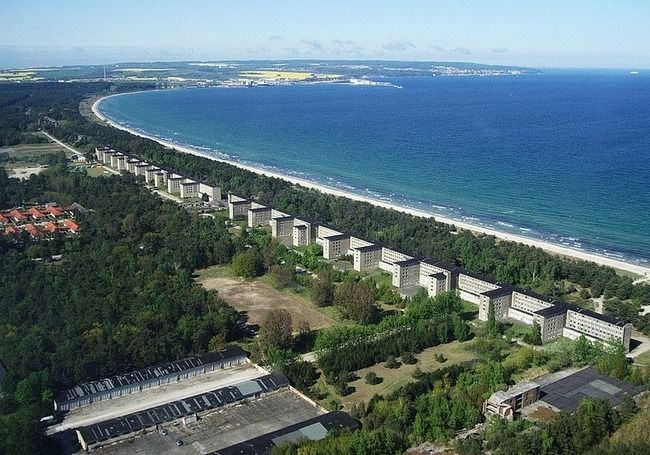 Large Hotel by Nazis. Lying on a Mesmerizing Bay between Sassnitz and Binz is more than 70 years old. The Hotel extends a long ways on the Beach but it didn't go well with Visitors.