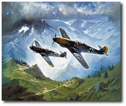 Diamonds in the Sky by Heinz Krebs (Me109). Adolf Galland, commanding General of all Luftwaffe fighters, and Erich Hartmann, with 352 aerial victories the ace of all fighter aces, fly their Me 109 fighters through the majestic landscape of the Alps. Both are recipients of the very rare decoration; Oak Leaves, Swords, and Diamonds with the Knight's Cross of the Iron Cross.