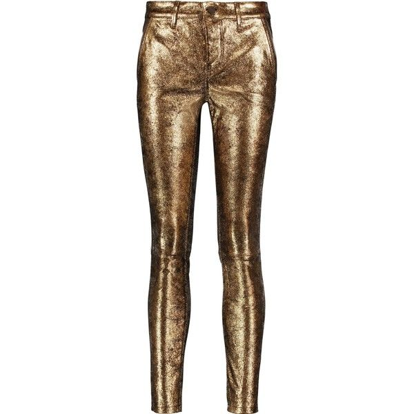 RTA  Lucy metallic leather skinny pants (2.365 RON) ❤ liked on Polyvore featuring pants, real leather pants, metallic pants, metallic trousers, brown skinny pants and metallic skinny pants