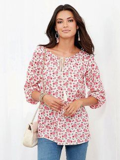 Blusa floreada mujer manga larga elástica con escote caftán y cordones