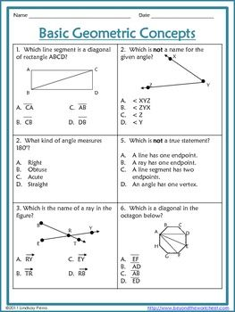 Geometric Concepts Worksheet - Free Activity (With images ...