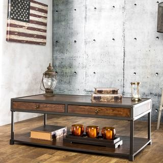 Furniture of America Thorne Antique Oak Industrial Coffee Table - Overstock™ Shopping - Great Deals on Furniture of America Coffee, Sofa & End Tables