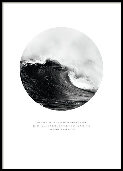 Print with a nice photo of a big ocean wave below the picture is the