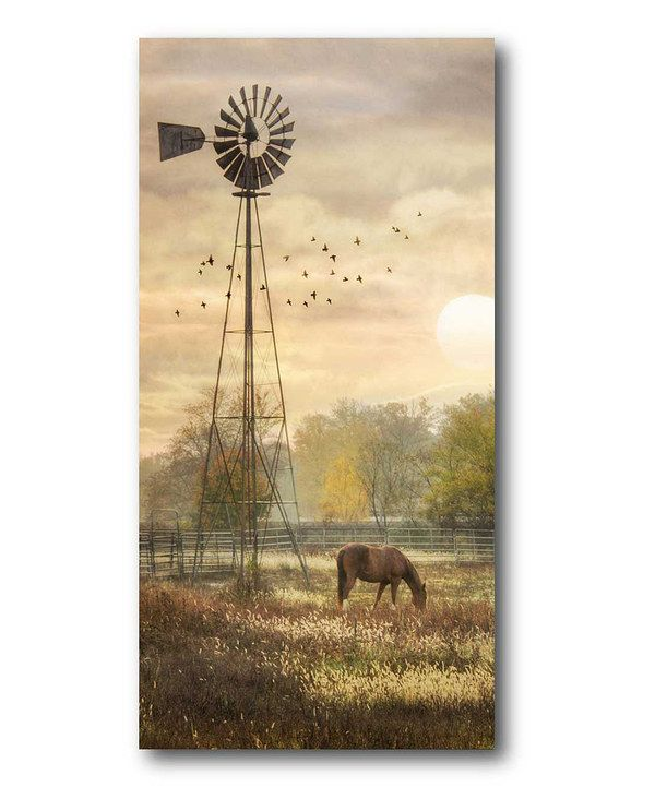 Look at this Sunset Windmill & Horse Wrapped Canvas on #zulily today!