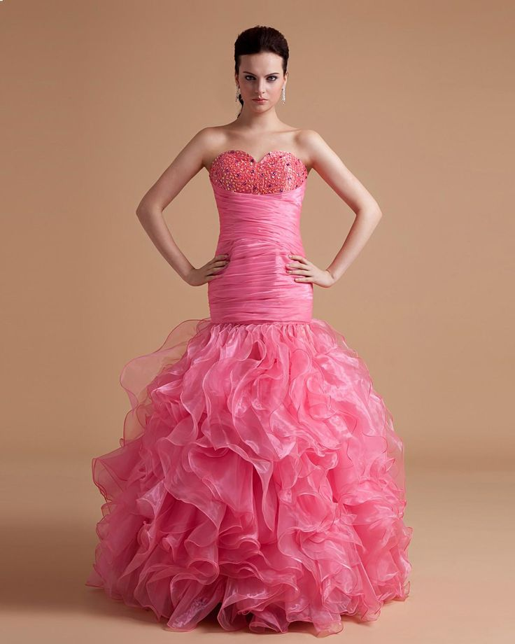 Beaded Sweetheart Organza Ruffled Floor Length Evening Dress
