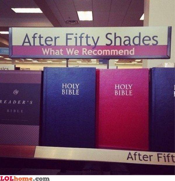 "This post-Fifty Shades recommendation, which makes sense. Both filled with exclamations of ""Oh, God!"""