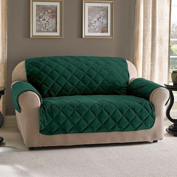 Fine Velvet Loveseat Slipcover, Green Loveseat