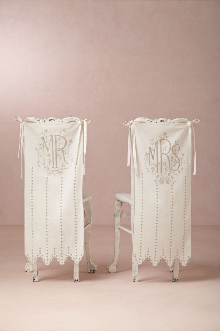 MR and MRS chair banner sign http://www.ebay.com/itm/Mr-Mrs-eyelet-chair-banner-from-BHLDN-Anthropology-/252716057885?hash=item3ad70d051d:g:LqMAAOSw5cNYcvC6
