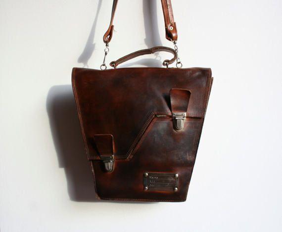 Leather bag, Leather shoulder bag, Vintage leather bag, Leather satchel, Leather school bag, Leather office bag, Mens leather bag, Vintage