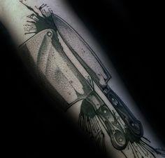 Dotwork para hombre de la acuarela salpicadura de la pintura del cuchillo del cocinero tatuajes